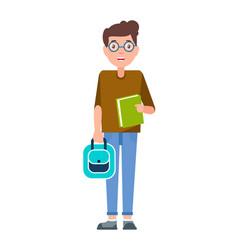 male student teenage schoolboy freshman in glasses vector image