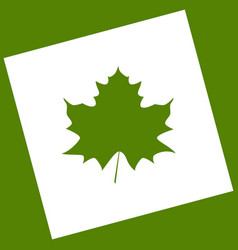 Maple leaf sign white icon obtained as a vector
