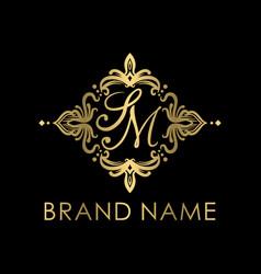 modern and golden sm initial logo creative concep vector image