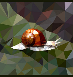 Mosaic of a snail with a brown shell on a colored vector