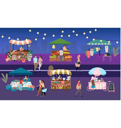 Night fair flat outdoor street market stalls vector