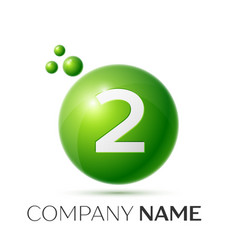 number two splash green dots and bubbles number vector image