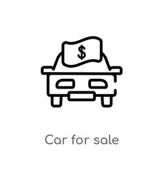 outline car for sale icon isolated black simple vector image