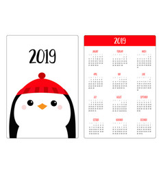 penguin head wearing winter red hat merry vector image