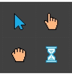 Pixel colorful cursors icons on black vector