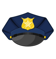 Police peaked cap with gold cockade vector