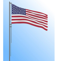 realistic us flag flying in the wind vector image