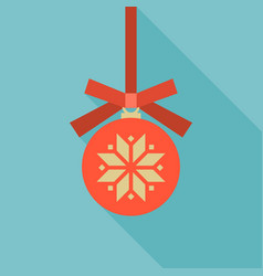 Red christmas ball icon vector