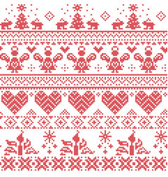 Scandinavian nordic cross stitch pattern vector