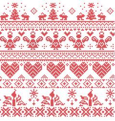 Scandinavian nordic cross stitch pattern vector