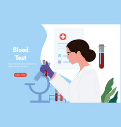 scientist in analyzing blood samples with vector image