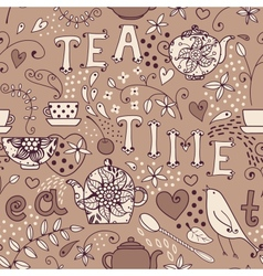 seamless pattern - tea time vector image