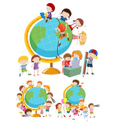 set of children and globes vector image