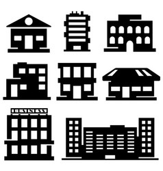 set various buildings vector image