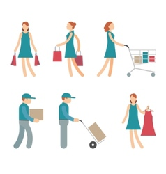 Shopping Characters and employees of delivery on vector