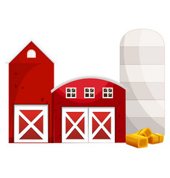 Silo and two red buildings vector