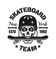 skull in helmet with skateboard in teeth emblem vector image