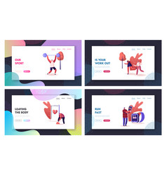 Smart shoes landing page template set characters vector