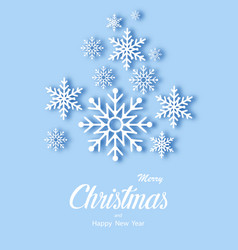 snowfall white snowflakes on blue background vector image