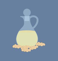 soybean organic oil in glass bottle vector image