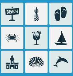 sun icons set with sand castle shell boat cancer vector image