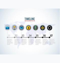 Timeline infographic world business progress money vector