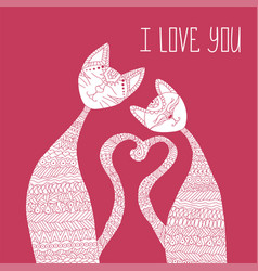 two cats in love antistress coloring book hand vector image