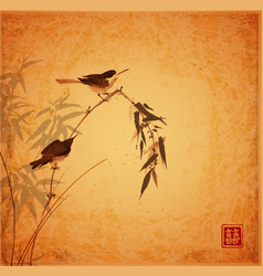 two little birds sitting on bamboo branch on vector image
