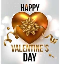 Valentines Day background with gold heart ribbon vector