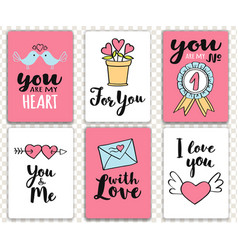 valentines day cards with hand written lettering vector image