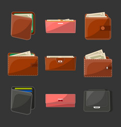 various leather purses and wallets set vector image