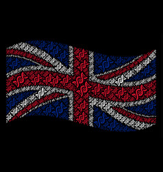 Waving uk flag pattern of dna spiral icons vector