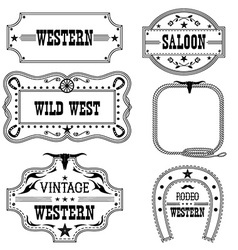 Western vintage labels isolated on white for vector