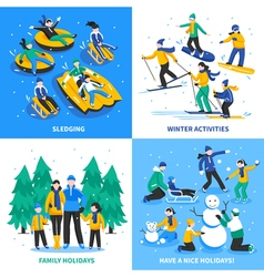 Winter Activity 2x2 Design Concept vector image