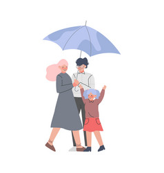 Young family and little kid with umbrella enjoying vector
