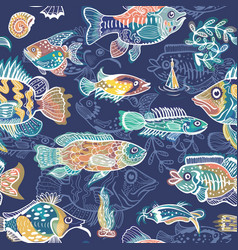 blue fish pattern vector image vector image