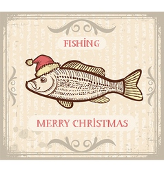 Christmas image of fishing with fish in santa hat vector