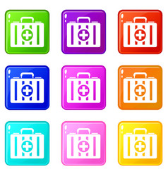 first aid kit set 9 vector image vector image