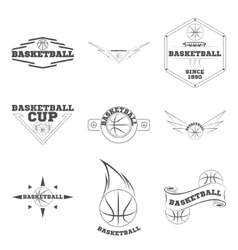 Set basketball logo for the team and the cup vector image