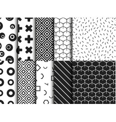 set of trendy various geometric seamless pattern vector image vector image