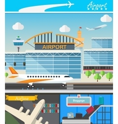 Airport building and travel concept vector image