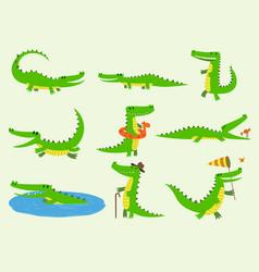 cartoon crocodiles characters different vector image vector image