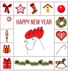 Happy new year and christmas greeting card with vector image vector image
