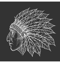 Native american indian chief head profile vintage vector