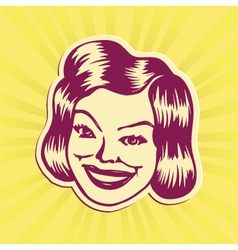 Vintage mid-century smiling woman face vector image vector image
