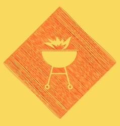 barbecue with fire sign red scribble icon vector image vector image