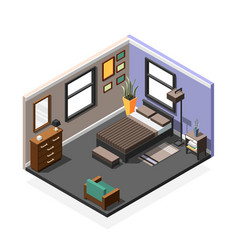 bedroom isometric interior composition vector image vector image