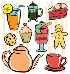 drink and food icons vector image vector image
