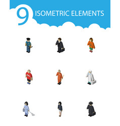 isometric human set of guy cleaner detective and vector image vector image