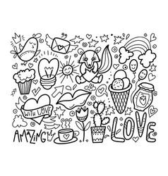 set of cute doodle modern elements vector image